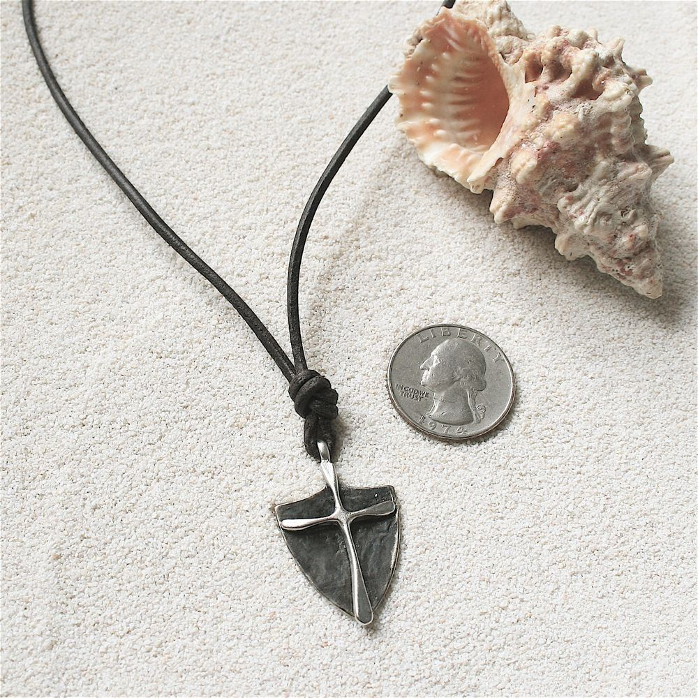 Surfer Necklace Mens Cross on Distressed Leather Cord Surf Jewelry