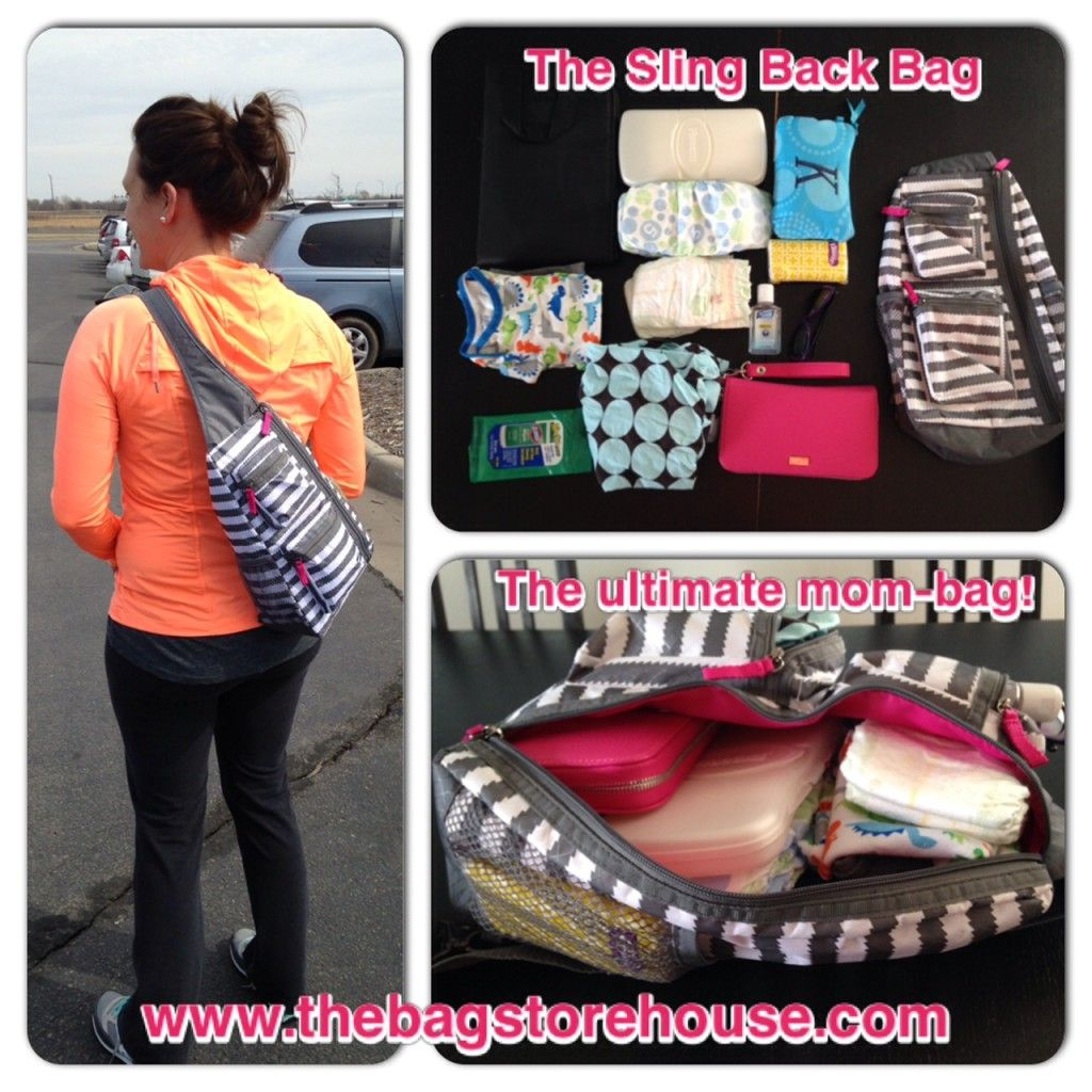 Thirty-One Sling Back Bag in Grey Wave www.mythirtyone.com ...