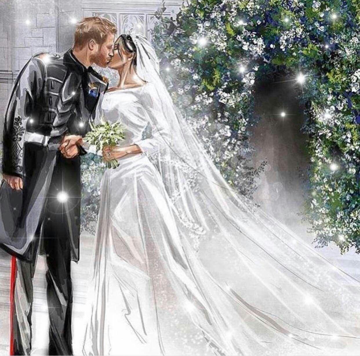 Drawing Of The Royal Wedding Kiss On May 19 2018 Celebrating Royal Wedding Of Prince Harry To Ms Harry Wedding Harry And Meghan Wedding Prince Harry And Megan