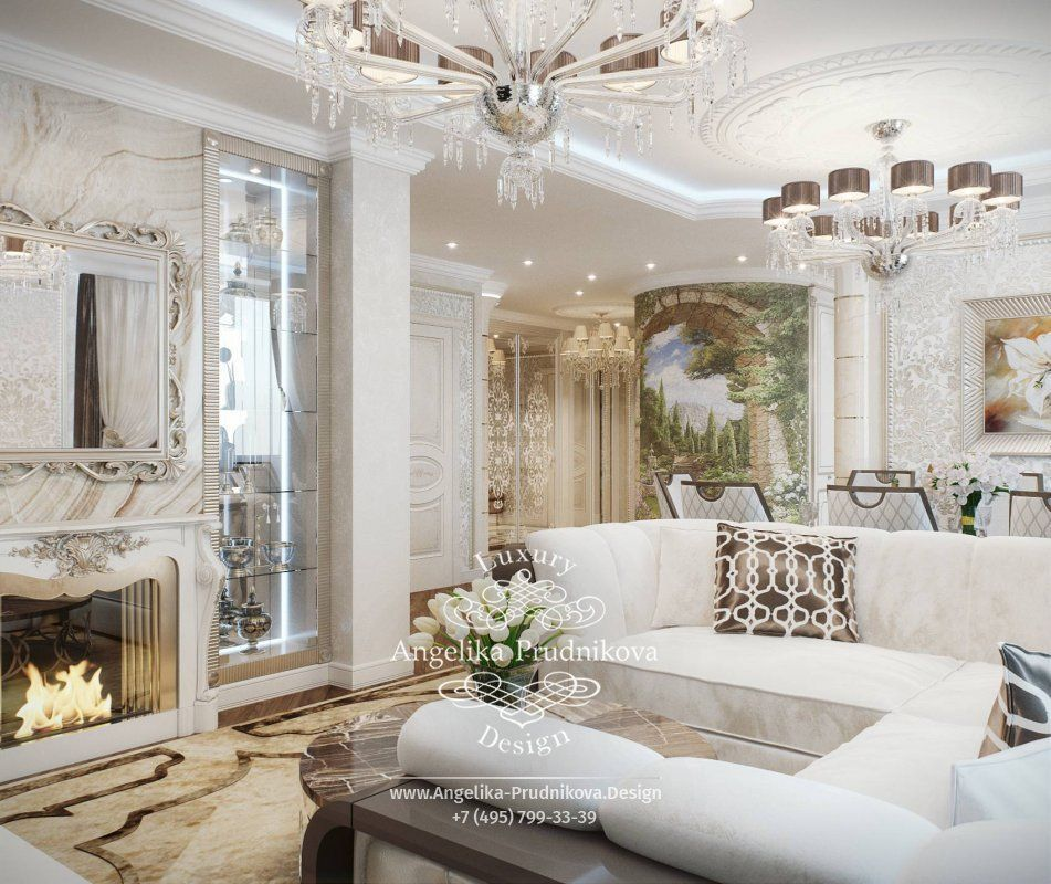 Дизайн интерьера гостиной в классическом стиле. Фото 2019 ...