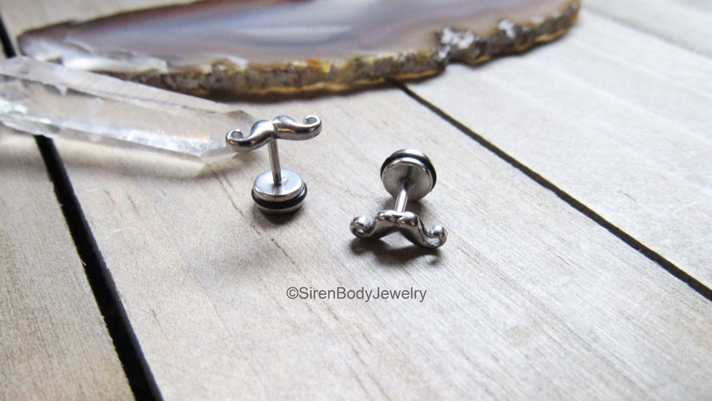 Fake Plug Earrings 16g Silver Mustache Ear Piercing Body Jewelry Faux Gauges  Stainless Steel Flat Back