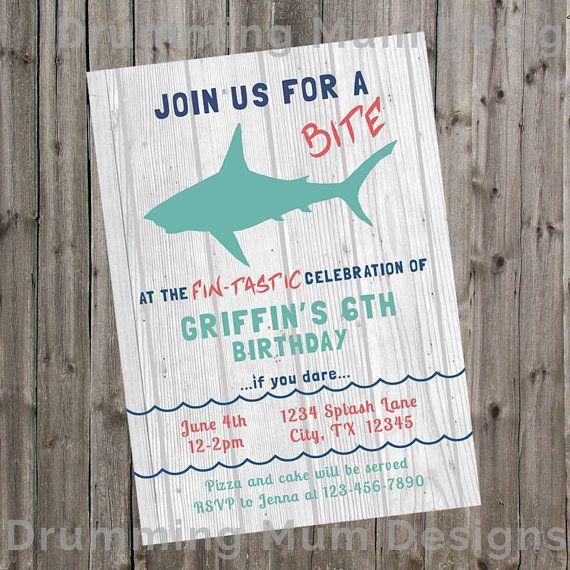 shark party birthday invitation ocean party invitation rustic