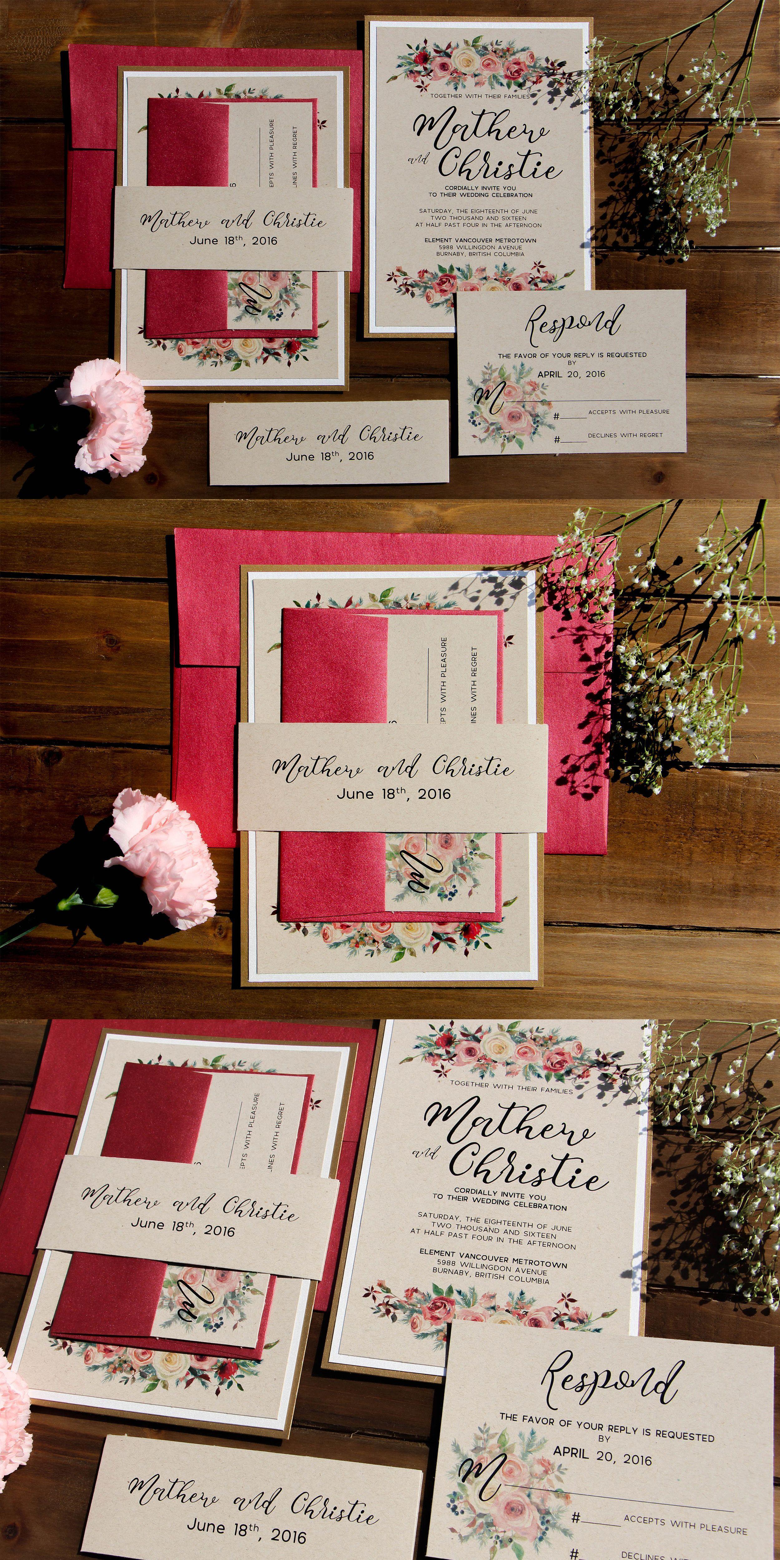Rustic Romantic Rose Kraft Wedding Invitation Suite| Gold and ...