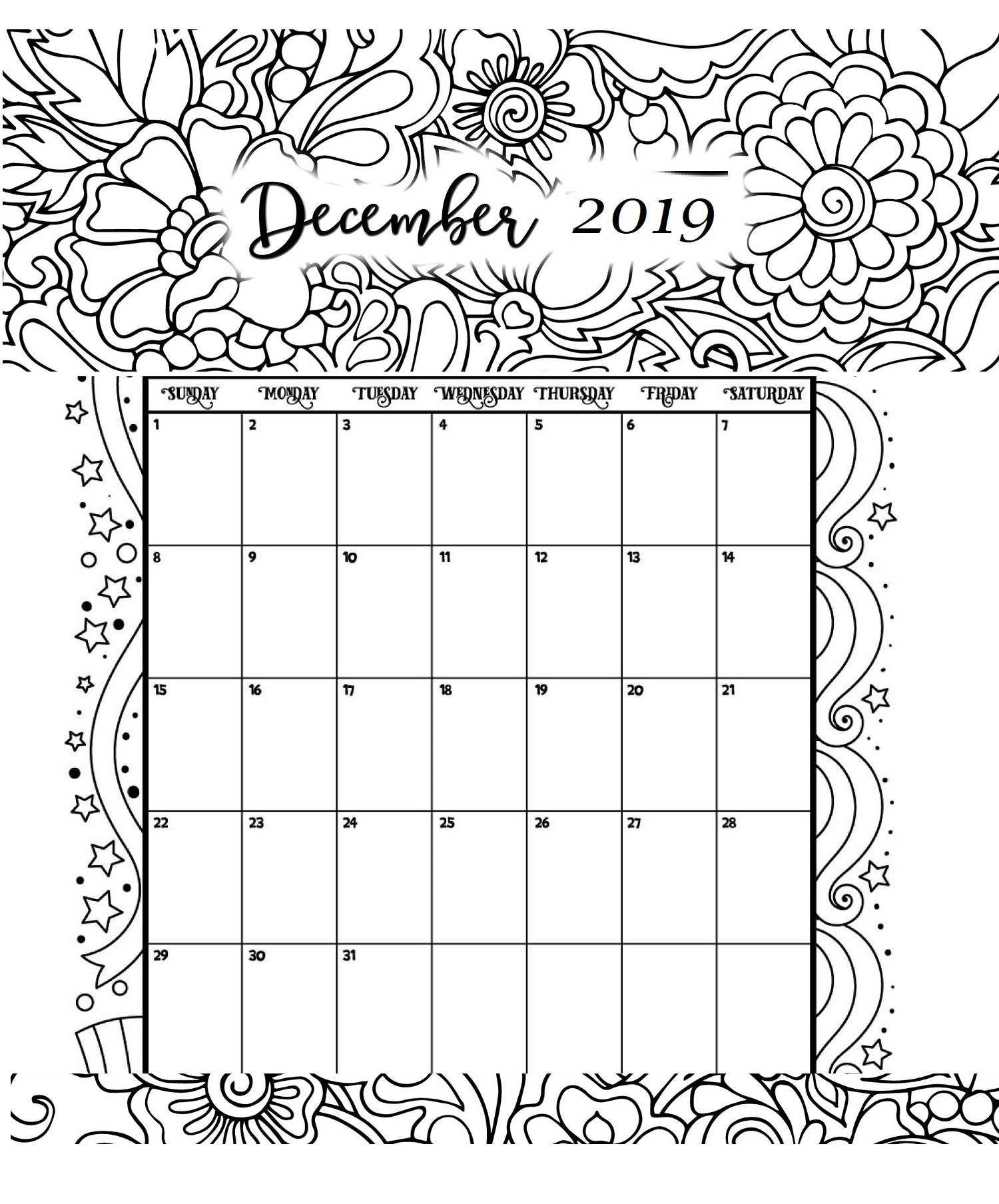 December Printable Coloring Calendar