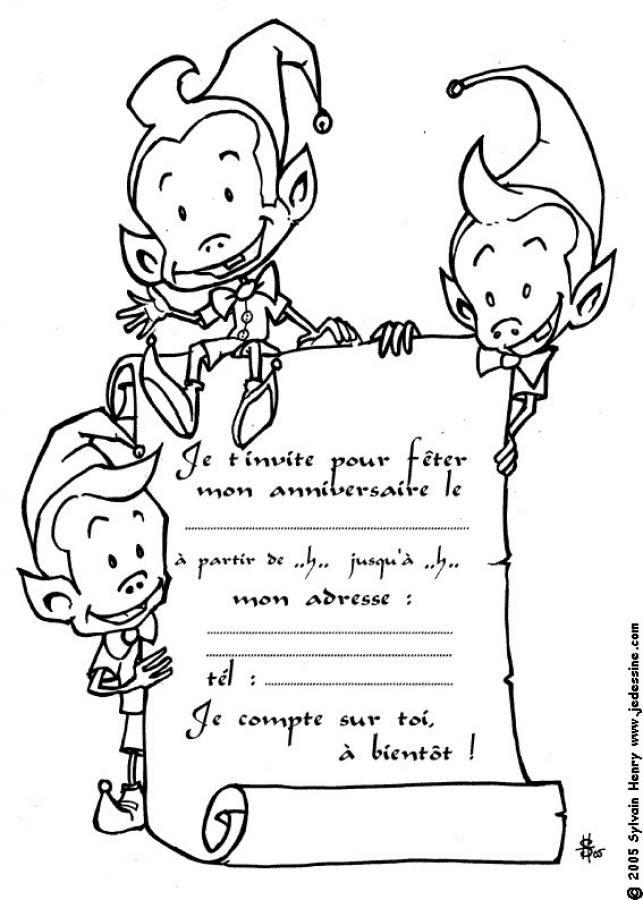 Coloriage Carte Anniversaire Le Parchemin Des Lutins