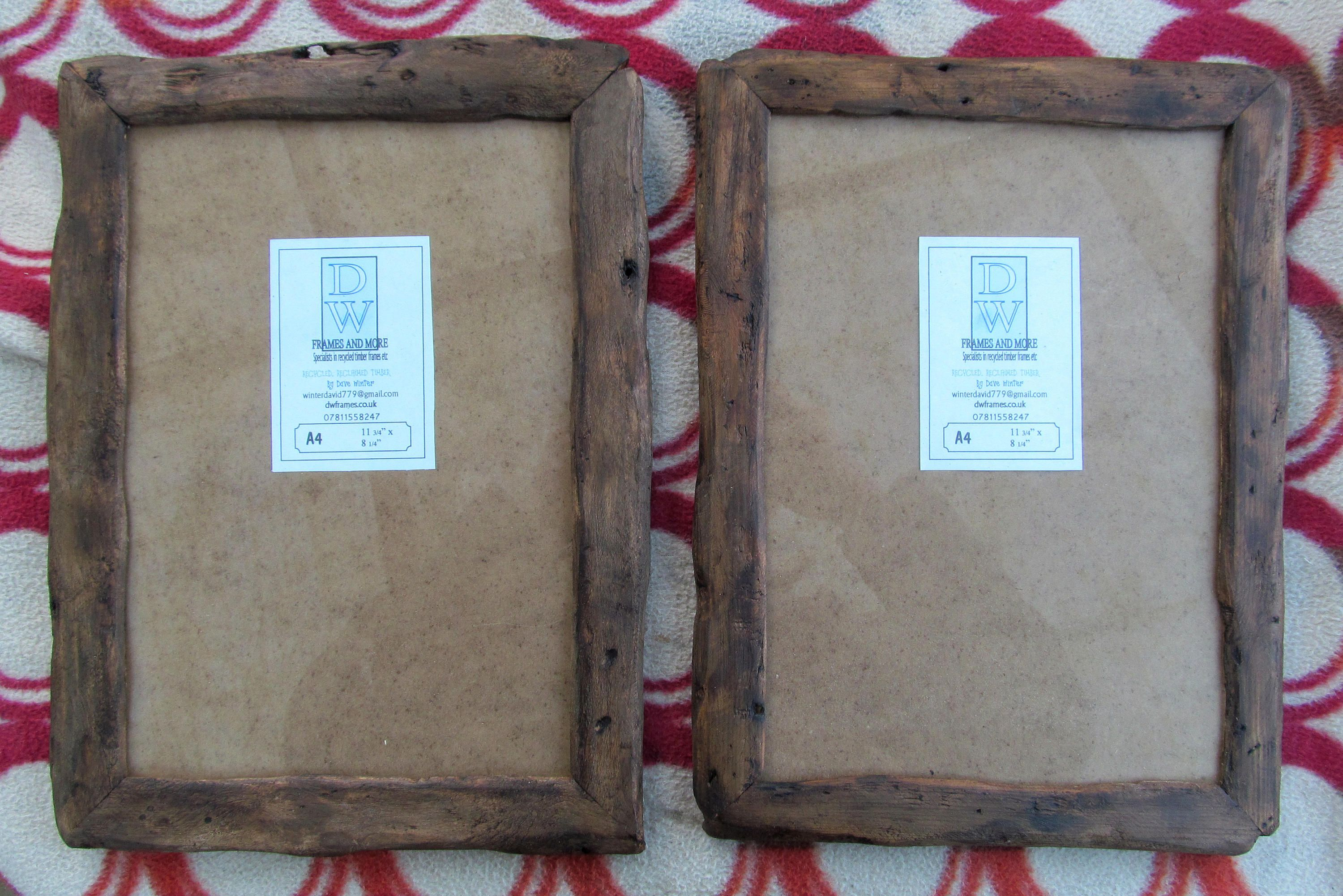 Rustic/driftwood style frames in locally sourced,recycled old wood ...