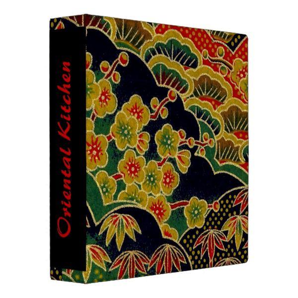Gold Plum Flower Pattern Japanese Kimono Textile 3 Ring