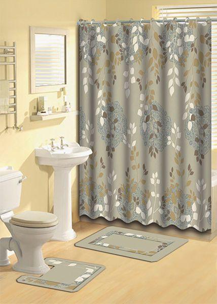 Taupe Aqua Floral Vines Shower Curtain 15 Pc Bath Rug Mat Contour
