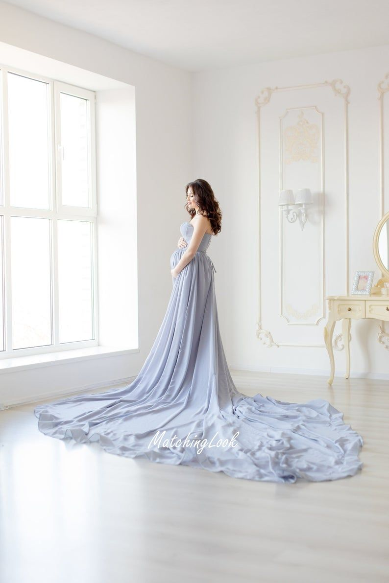 Photo of Grey Maternity Chiffon dress for photo shoot – Pregnancy Gown with long train in gray color
