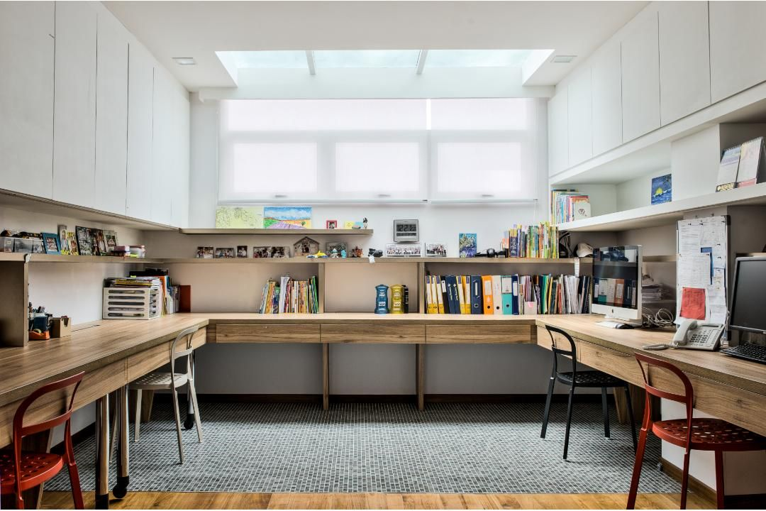 Great use of space for the study. Ample natural light and