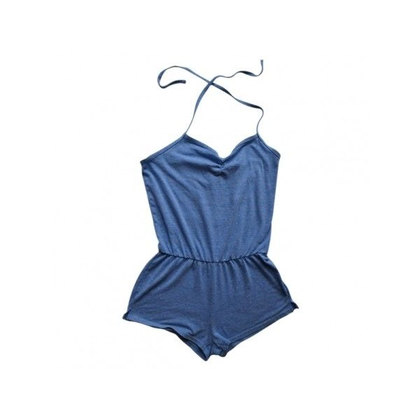 Short Jumpsuit AMERICAN APPAREL Blue (695 ARS) Liked On
