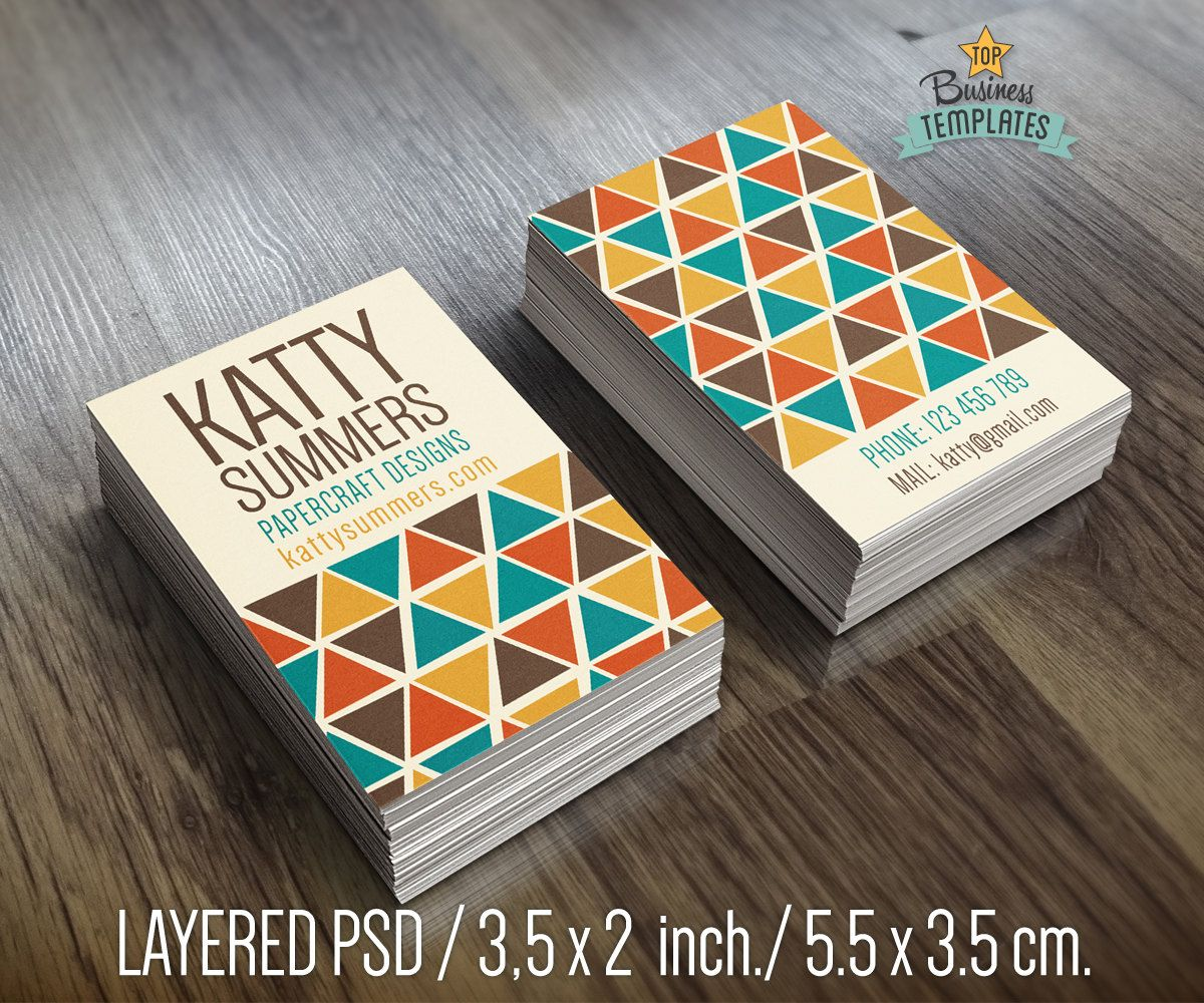PSD Business Cards Design, Hipster Card Template, Custom Calling ...