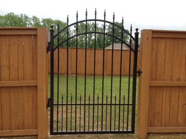 Wood Fence Metal Gate Google Search Backyard Fences Fence Design Wrought Iron Gates