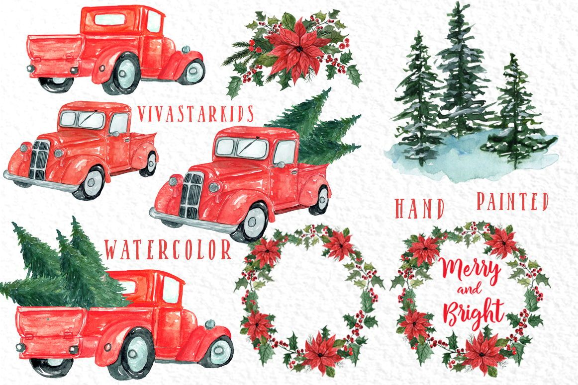 Christmas Truck Clipart Christmas Trees Etsy In 2020 Christmas Watercolor Christmas Tree Clipart Christmas Truck