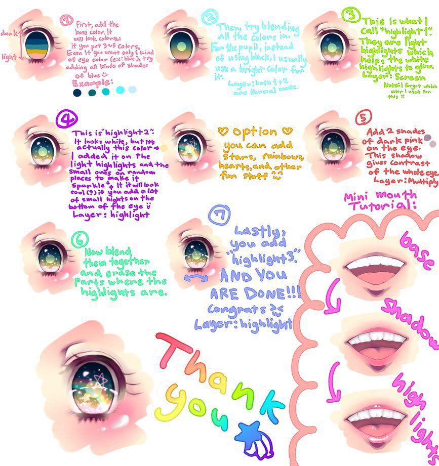 Colorful Sparkly Anime Eye Tutorial Anime Drawings Tutorials Anime Eye Drawing Digital Painting Tutorials