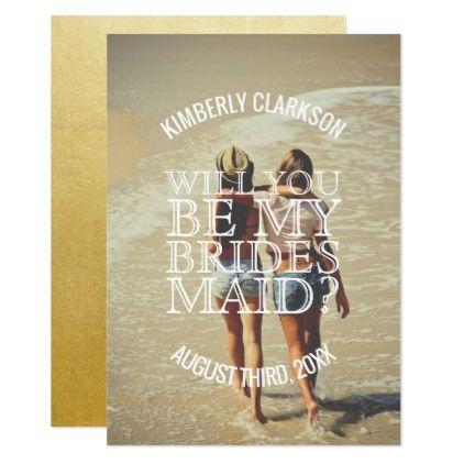 #bridesmaid - #Gold Foil Bridesmaid Photo Card