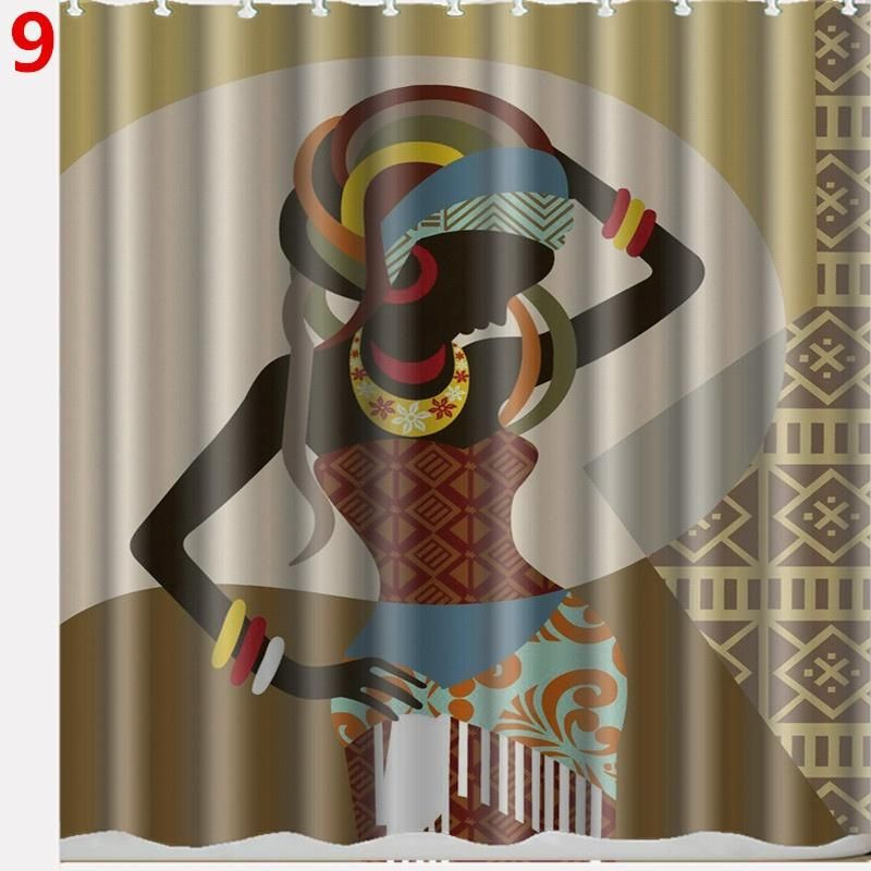 Custom Waterproof Bathroom African Woman Shower Curtain Polyester Fabric Shower Curtain Size 66 X 72