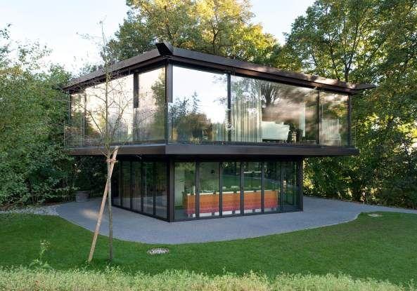 Oliv Brunner Volk Architekten Zurich Beton Wohnhaus Am Zurichberg Pavillon Mit Pool Schweizer Architektur Hartbeton Aussicht Haus Im Garten