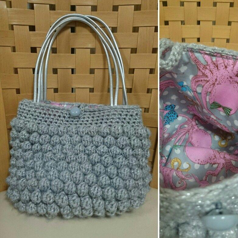 Crochet bag : Bubble stich 100均の毛糸で玉編みのバッグ