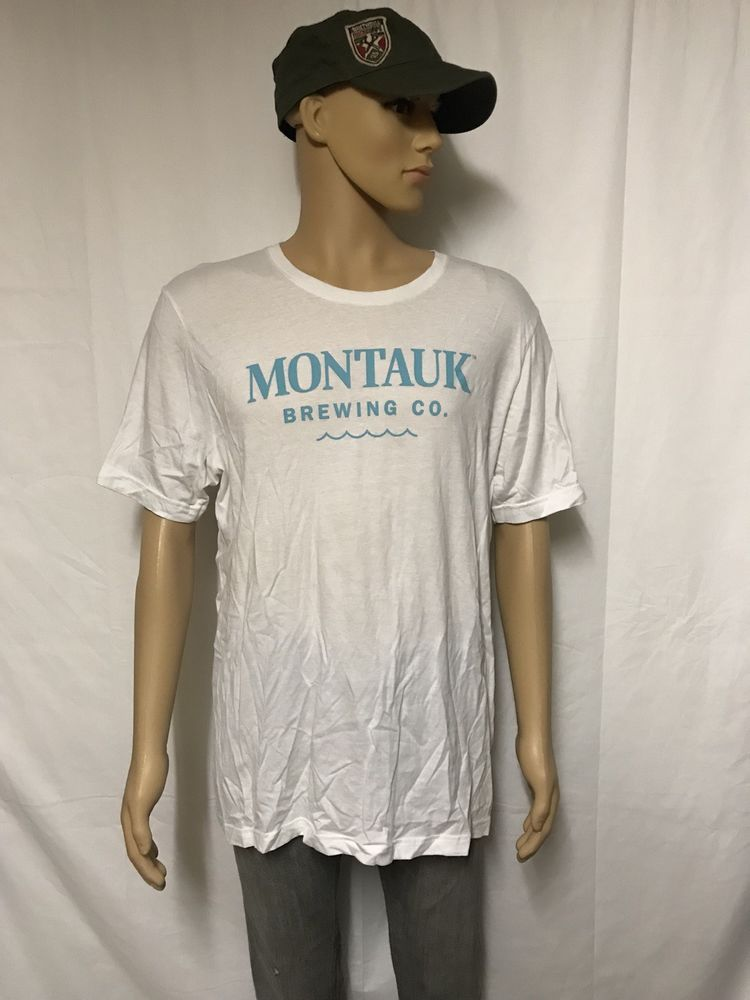 Montauk Brewing Co Mens T Shirt Size Xl White Blue Beer Alcohol