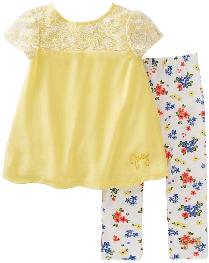 9fc023323db59 Bow-adorned woven top pairs with floral print leggings. Top & legging set  by Juicy Couture now on sale. Afflink.