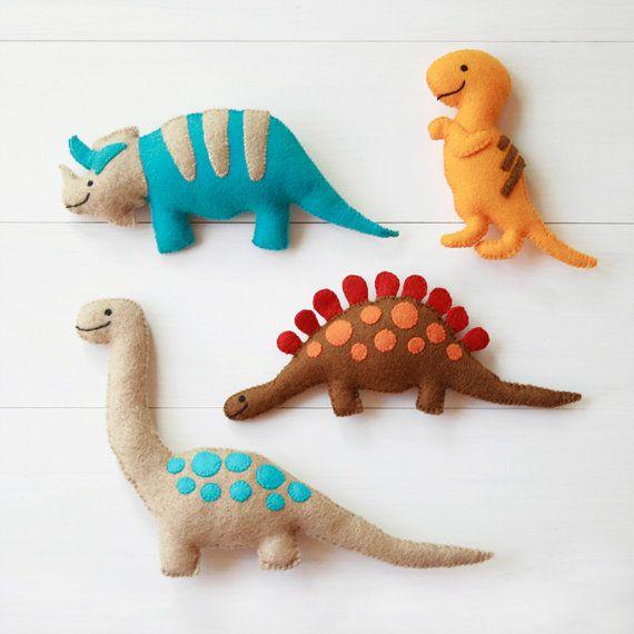 Felt Dinosaur Toys Four Handmade Plush Felt Dinosaurs