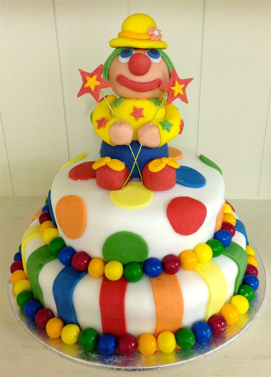 Magnificent How To Make A Clown Birthday Cake Bolo Circo Bolo De Palhaco Funny Birthday Cards Online Inifodamsfinfo
