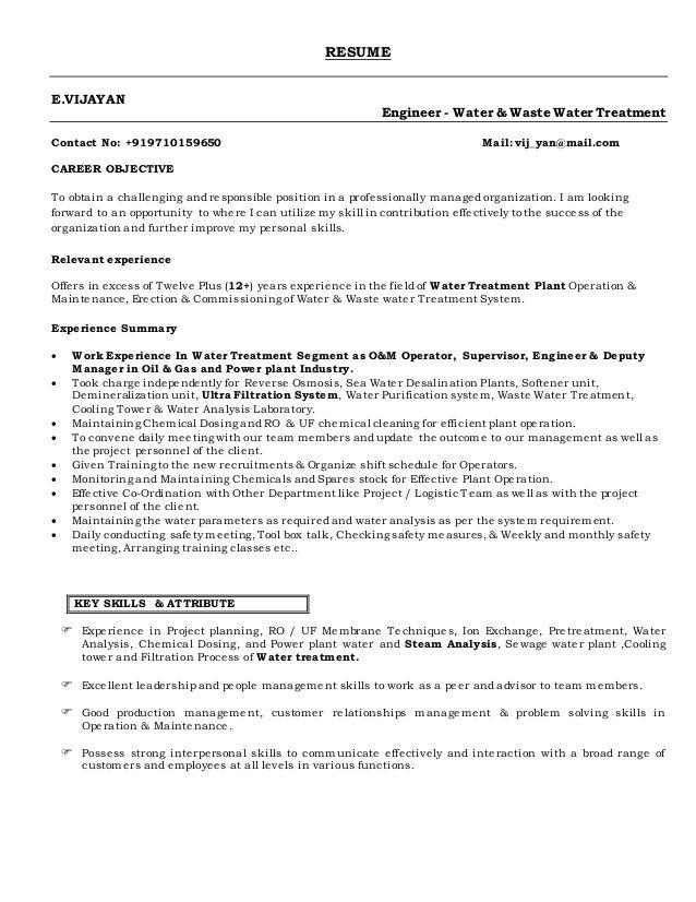 vijayan  resume  sample resume resume water treatment