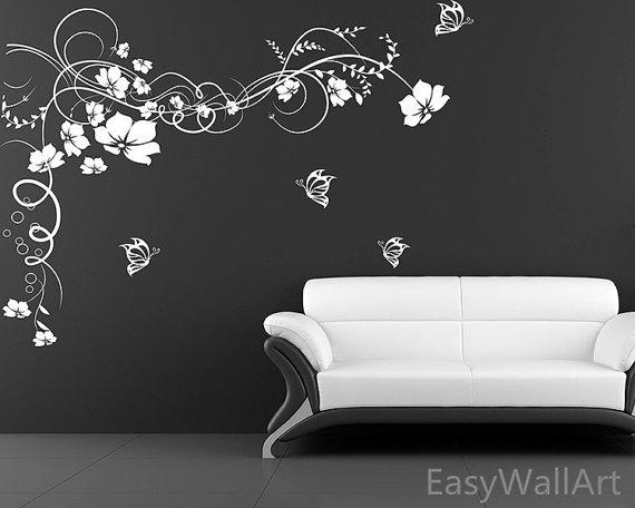 Flower Vine Wall Decal Flower Wall Decals Flower By Easywallart