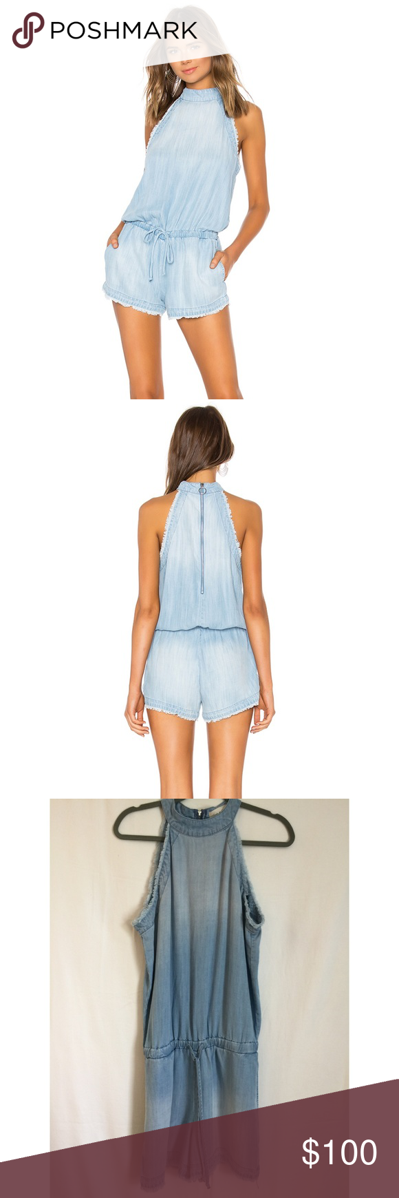 5129b4d47f4 Cloth  amp  Stone Blue Zip Back Frayed Trim Romper S M Anthropologie Cloth  Stone Blue Chambray