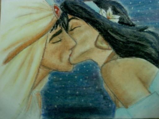 Jasmine Fan Art Aladdin And Jasmine Kiss By Cowgirlspirit On