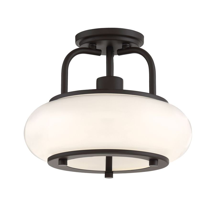 Quoizel Tribeca 12-in W Bronze Opalescent Glass Semi-Flush Mount ...