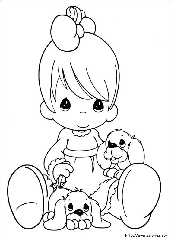 Precious Moments Coloring Page(s) | Infant Girl With Her Puppies ...