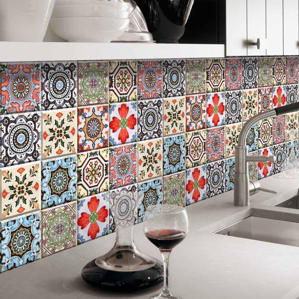 - European Retro 3D Imitation Ceramic Tiles Sticker Wallpaper PVC