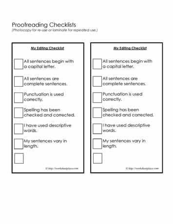 Proofreading Checklist Education Editing Checklist