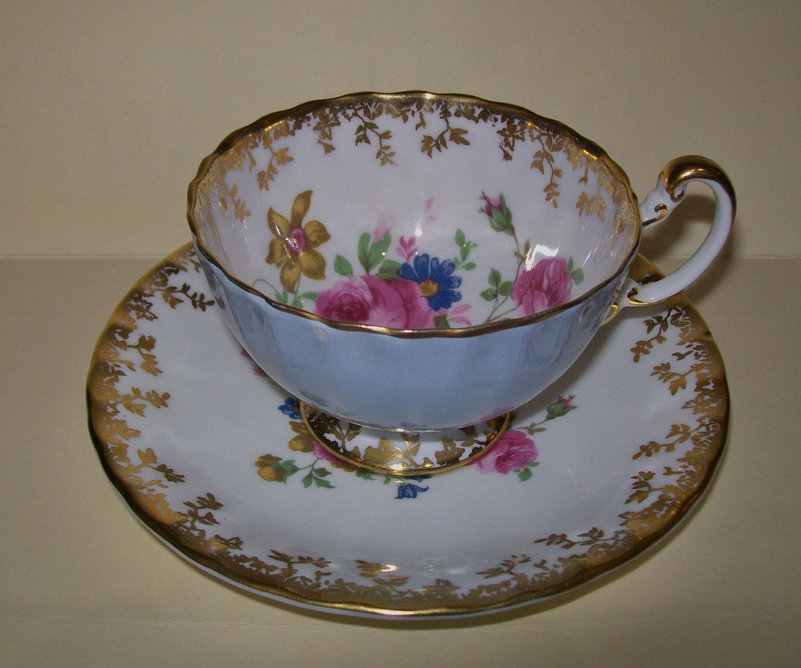 Vintage 'Aynsley' China DUO CUP Saucer SET Floral England | eBay