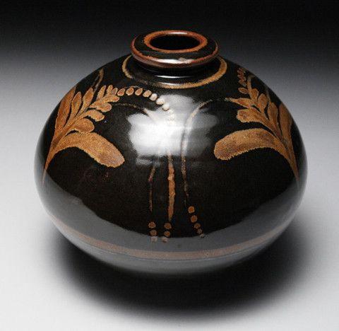 Globular Vase with Foxglove Motif by David LEACH - SOLD