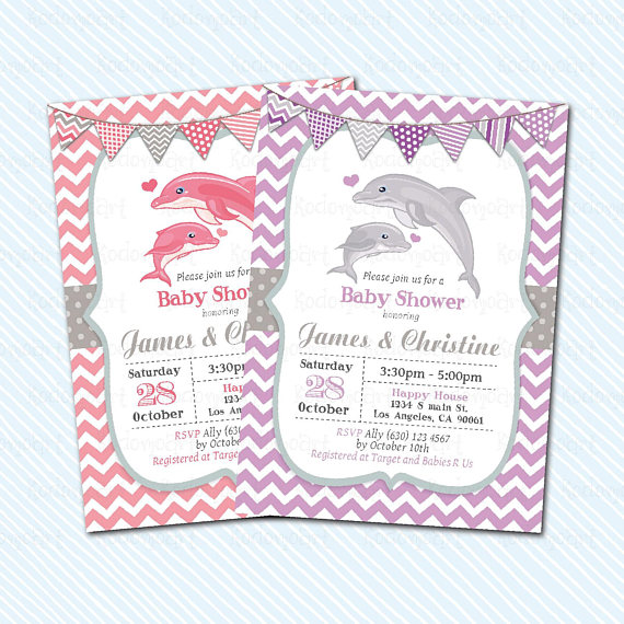 Digital Printable Dolphin Baby Shower Whale Invitation Etsy Crafts Prints