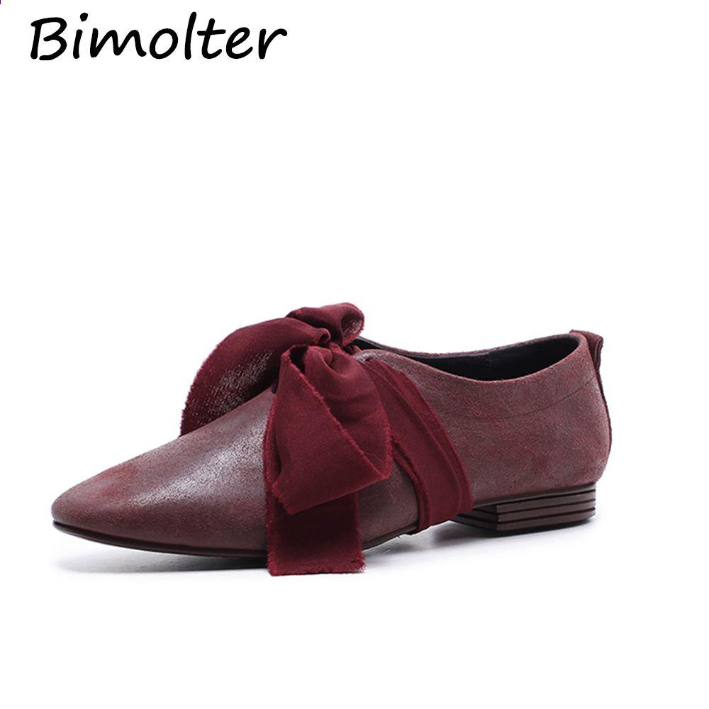 Bimolter Oryginalne Skorzane Plaskie Buty Kobieta Krowa Skora Wiosna Lato Wino Czerwone Czarne Casual Shoes Women Black Casual Shoes Leather Shoes Women Flats