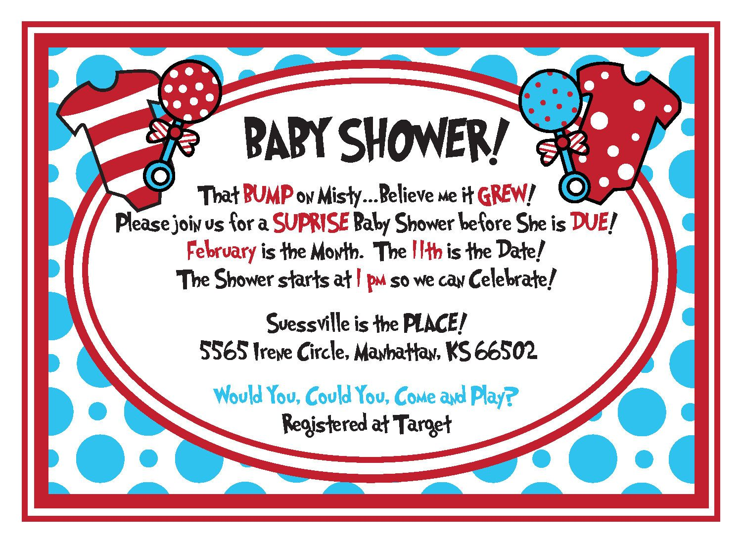 Download Now FREE dr.Seuss Baby Shower Invitation - PSD Template