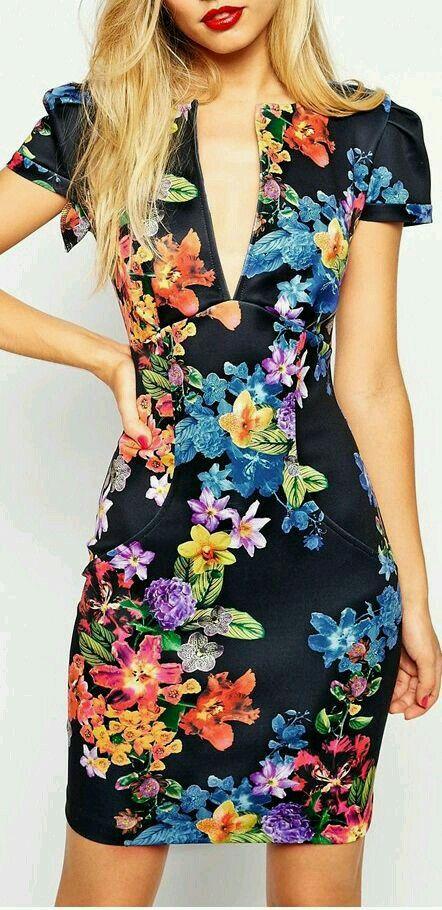 Vestido Floreado Oscuro Corto Vestidos Floreados Moda Y