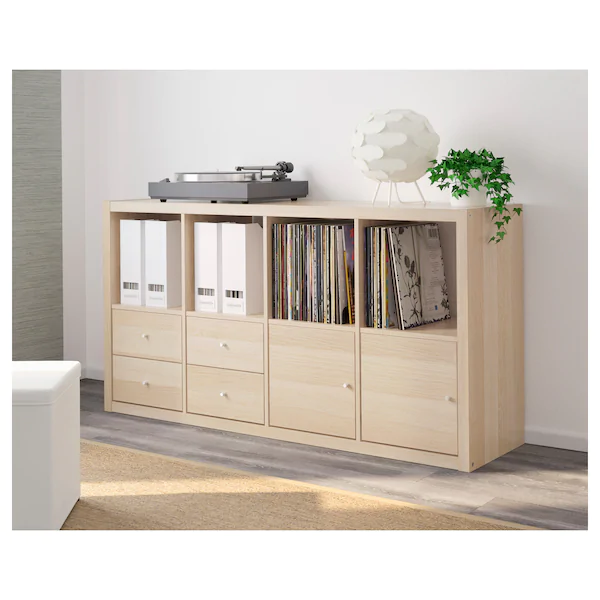 KALLAX Shelving unit with 4 inserts, white stained oak