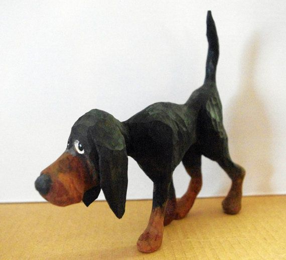 Hand carved black n tan hound dog wood by