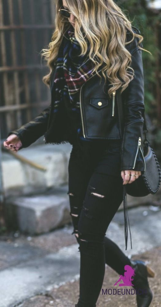 All black winter outfit styled with black leather jacket, black distressed jeans…