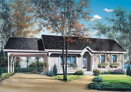 Plan 21040dr 2 Bedroom Ranch With Carport Ranch