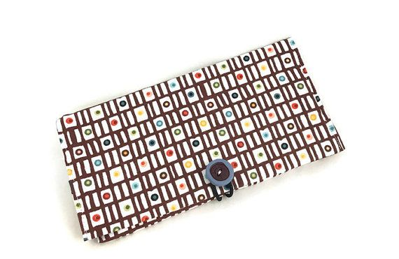 check wallet with button closure and colorful fabric by higirls