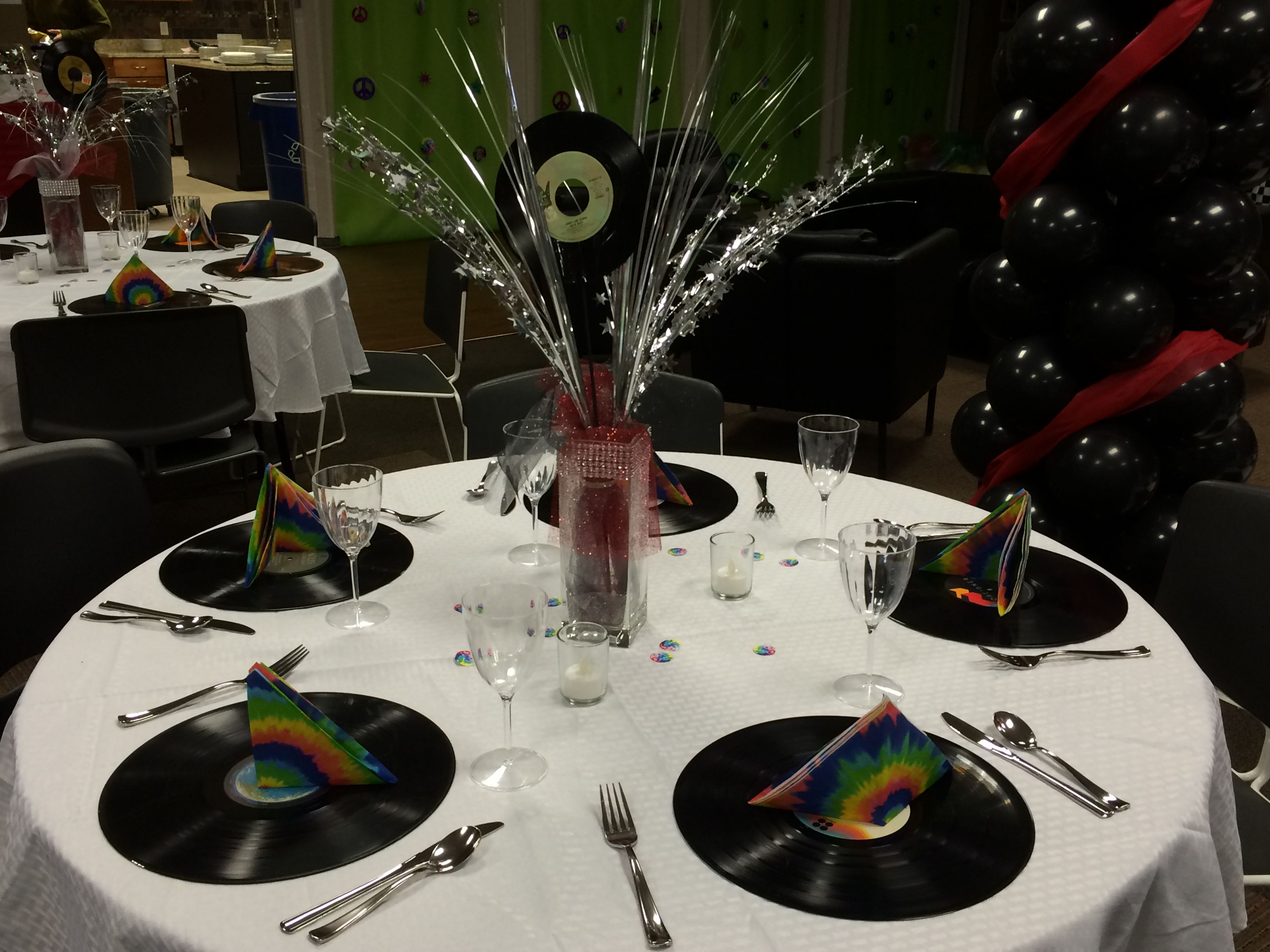 Rock 39 n 39 roll prom table decorations prom ideas pinterest table decorations - Rock and roll theme party decorations ...