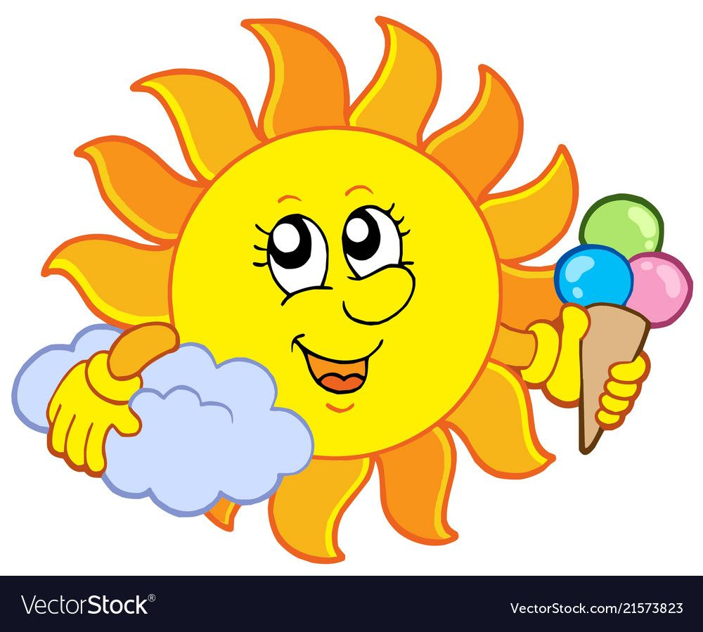 Sun With Icecream Vector Illustration Download A Free Preview Or High Quality Adobe Illustrator Ai Eps Animated Smiley Faces Painted Rocks Kids Happy Sun