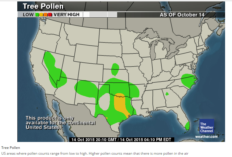 Weather Channel Us Map.Us Tree Pollen Map From The Weather Channel Reports Pollen Counts
