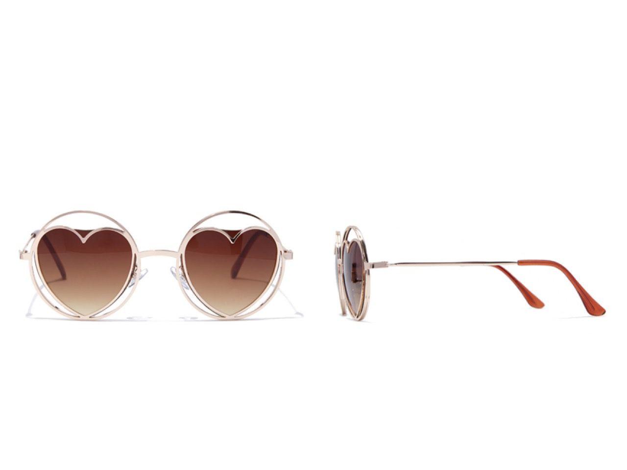 PEDIDOS SOLO POR ENCARGO #Forever21 Código: FA-52 Round Cutout Heart Sunglasses Color: Gold/brown  Precio: ₡9.000 ($16,61)  Información y consultas Viber (506)8963-3317, escribir al inbox o maya.boutique@hotmail.com. Envíos a todo el país.